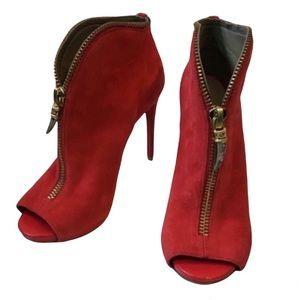 Guess Red Zipper Peep Toe Heeled Booties